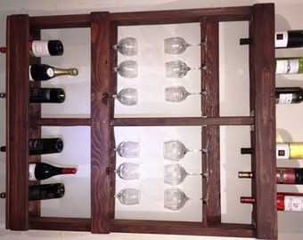 Rustic Wine Rack holds 12 bottles and 12 glasses