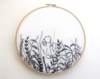 "Embroidery art ""Monochrome"" / Hoop art / Gay art"