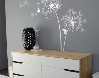 Dandelion Wall Decal With Butterflies Large nursery wall decal Wall sticker Wall Decor Wall Art Removable tree decal Wall decor art  AM026