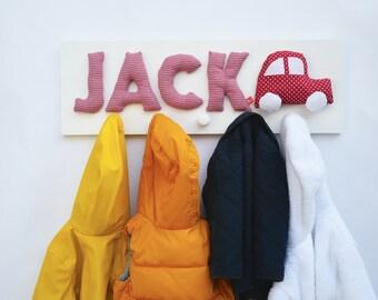 Childrens wardrobe with name and car, personalised baby gift, red, coat hooks, coat rack, coat peg, wardrobe