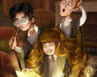 Reading is Magic Harry Potter Hermione Granger Ron Weasley Griffindor Print