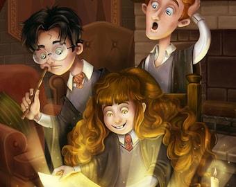 Harry Potter Hermione Granger Ron Weasley Gryffindor - Reading is Magic - 11x17 Print Fanart Fan Art Illustration Painting