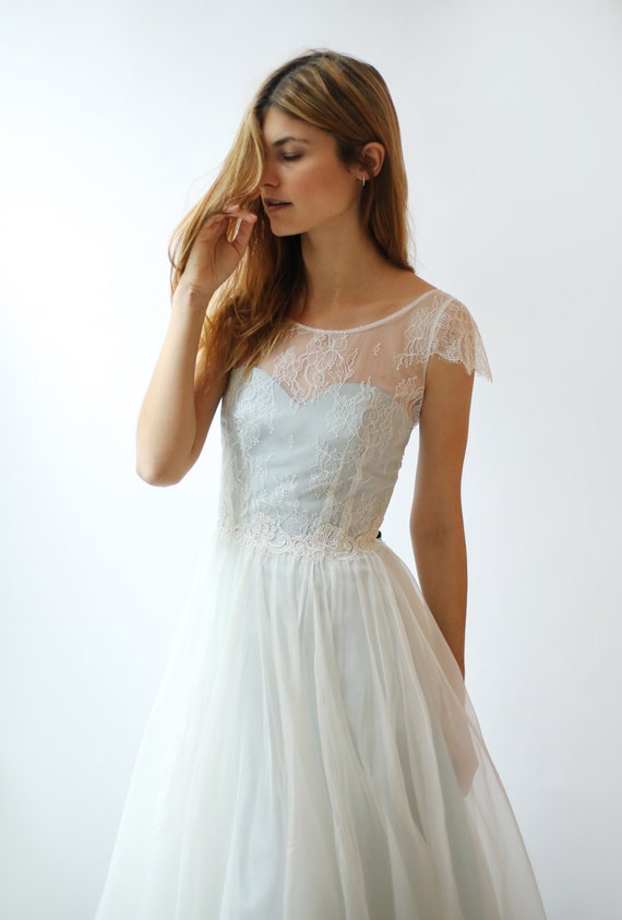 Sample Sale - brand new light blue and ivory Lace and silk Wedding Dress