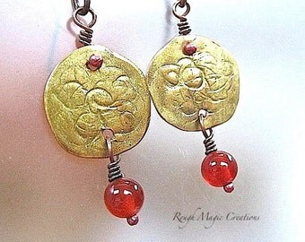 Golden Earrings. Hammered Copper. Large Boho Dangles. Red Carnelian Gemstones. Gold Painted Metal Jewelry. Exotic Earrings