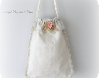 Linen Gift Bag Laundry Bag Bridal Bag Wedding Bag Gift Bag Heavy Linen Lined Lingerie Bag Shoe Bag