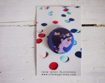 Violet girl pin, illustrated button girl brooch