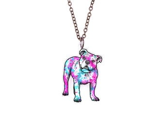 American Bulldog in Watercolor Splash Tattoo Necklace
