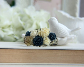 Cream and Navy Wedding, Ivory Gold Blue Flower, Bridal Bracelet, Wedding Jewelry, Rustic Wedding, Vintage Inspired Wedding, Bridesmaid Gift