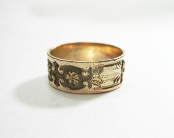 Antique Victorian Cigar Band Ring - Rolled Gold Plate - Size 7.75 - Wedding Ring - 1880s