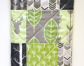 Rustic Baby Quilt-Woodland Baby Boy-Crib Bedding-Buck Quilt with Arrows-Gray-Grey-Green-Charcoal-Modern Baby Blanket