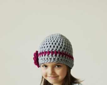SALE Girls Beanie Hat with Flower, Girls Hat, Crocheted Beanie for Girls, Children Beanie ,Crochet Hat, Gray and Purple