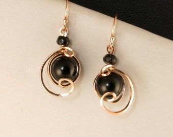 Black Onyx Rose Gold Drop Earrings, Small Unique Wire wrapped Rose Gold Jewelry