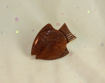 Hand carved Sunfish Pin Unique Wooden Fish Vintage shiny wood finish OOAK Ocean Lake Sea Beach Nautical Fishy Lapel Pin