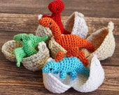 Dinosaur Amigurumi Toy with Egg - Dino in Egg - Dinosaur Play set - Stocking Stuffer - Stegosaurus - Dino Hatchlings - T-Rex - Pterodactyl