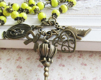 Yellow charm necklace, beaded necklace, bronze vintage style jewelry, charms, heart necklace, for her, Europe