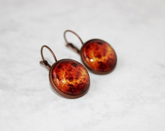 Venus Earring, Antique Copper, Glass Cabochon, Galaxy Jewelry