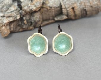"""Green Porcelain flower earrings """"Minty"""", handmade green porcelain earrings, Mynt earrings, flower bell earrings, gift for her, under 30"""