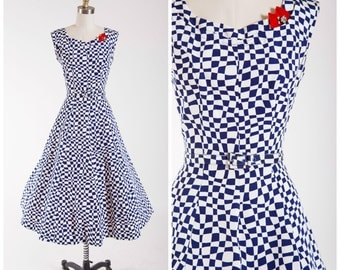 1950s Vintage Dress • Unwavering Affection • Navy Blue Midcentury Checked Print Vintage 50s Dress Size Small