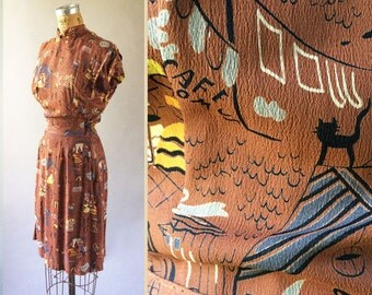 Art Nouveaux 1940s Printed Rayon Dress City Life People Cats Chimney