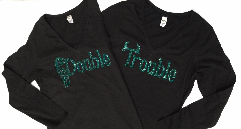 Custom Rhinestone Bling Double Trouble Set Of Shirts New