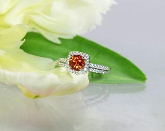 Orange Engagement Ring, Orange Zircon, zircon Wedding Set, Sterling Silver, Orange Gemstone Ring, Orange Ring