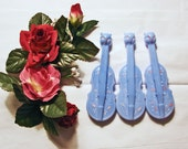 Vintage Baby Rattle, 1940s, Violin with Kitten on the End, Lot of 3 Hard Plastic Blue Baby Rattles