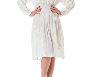 1920s White Embroidered Long Sleeve Peasant Bridal Dress, Size: S