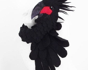 BLACK COCKATOO COLLAR Black Parrot Collar Animal Scarf Bird Collar Surreal Collar Felt Wrap Nuno felt wearable art Silk Fiber Art