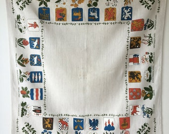Swedish tablecloth souvenir nostalgia  provinces crests and flowers folklore heritage piece Swedish Scandinavian 35 by 32  inches