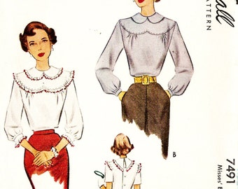 McCall 7491 Vintage 1940s Misses' Blouse with Shaped Yoke Sewing Pattern Size 18