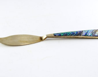 Sterling Silver Abalone Inlay Butter Knife - Vintage