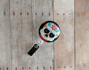 Sugar Skull Badge Reel ID Holder, Brightly Colored Sugar Skull Print, Made in USA, Retractable Badge Reel, De los Muertos, Day of the Dead