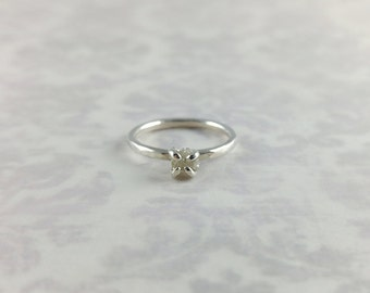 Rough Diamond Ring in Sterling Silver - April Birthstone - Diamond Ring - Unique Engagement or Promise Ring in Size 4 - Raw Silver Diamond