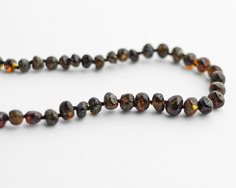 Black amber necklace / Dark amber necklace