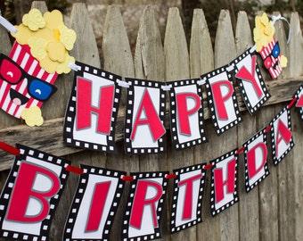 Movie Themed Birthday Banner, Birthday Movie Banner