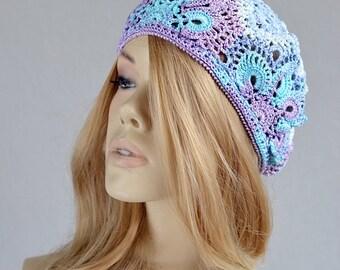 Crochet summer hat Lace summer hat Womens crochet hat French beret Summer beret Crochet beret cotton Summer lace hat Cotton crochet hat
