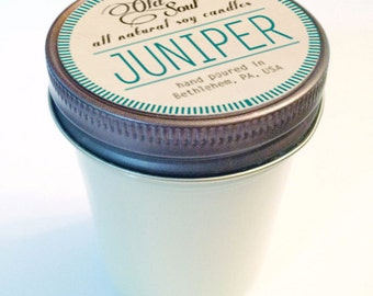 JUNIPER.  8 oz.  Natural Soy Candle.  Hand-Poured.