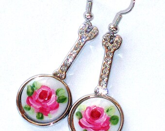 Painted Rose Dangle Earrings Vintage Style Romantic Victorian Jewelry FREE SHIPPING