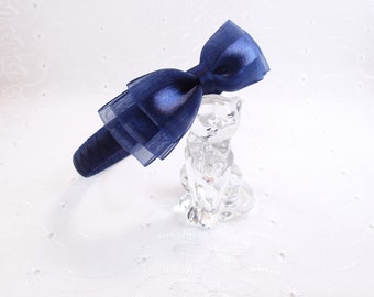Navy Bow Headband, Satin Organza Bow, Woven Grosgrain Wedding Bow, Flower Girl Navy Ribbon Headband, Navy Wedding Headband