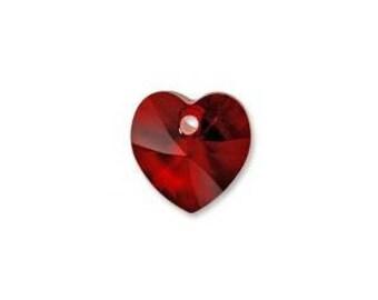 Swarovski Crystal Beads, Swarvoski crystal Pendants, 10MM , Crystal Heart, 3PCS, Swarovski Crystal Jewelry, Color Siam