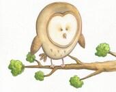 Little Owl print - Owl illustration - - Nursery wall art - Childrens print - Woodland animals - Personalised or alphabet print - Watercolour