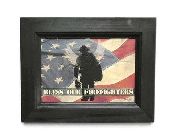 Bless our Firefighters, Angel Wings, American Flag, Firemen Hero Tribute, Art Print, Handmade, 9X7, Custom Wood Frame, Made in USA
