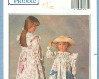 1990 Holly Hobbie Children's Dress, Petticoat, Pants, Transfer and Doll's Clothes Size 2,3,4,5,6 - Vintage Butterick Sewing Pattern 5198