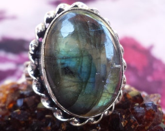 MirroR MirroR oN ThE WaLL~Gothic Medieval Bohemian Vampire Druzy Labradorite 925 Sterling Silver Gemstone Statement Boho Ring Size 9.5