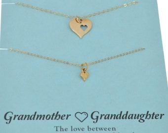Grandmother Granddaughter necklace set in natural bronze.