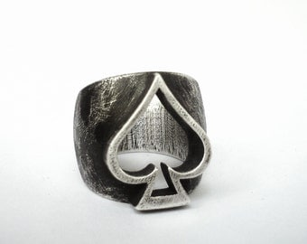 Ace of Spades Ring - Pirate Ring - Lucky charm Ring - Sterling Silver .925