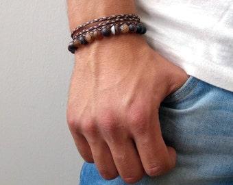 Mens Bracelet set - Mens Beaded Braceletes Set  - Mens Agate Beads Bracelet - mens braceletset - stacking bracelet - gemstone bracelet