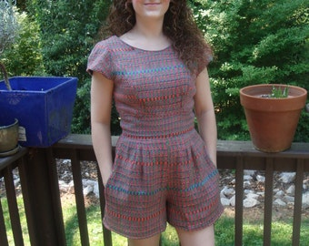 Vibrant, Naturally Dyed, Handwoven Romper with Pockets!