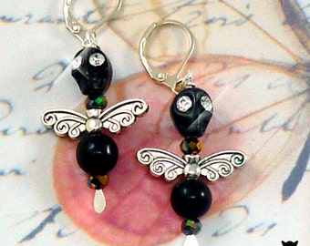 Black Angel Earrings, Black Skull Earrings, Day of the Dead Earrings, Gifts for Her, Dia de los Muertos Earrings, Halloween Skull Earrings