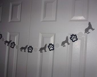 wolf garland - Dark Navy Blue, Medium Grey & White Cardstock Paper - Boy Birthday Party, Baby Shower Hanging Door Wall Table Mantel Decor